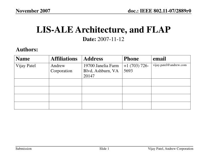 Lis ale architecture and flap
