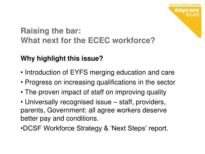 Raising the bar what next for the ecec workforce