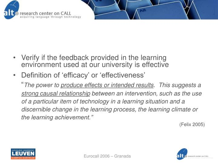 Verify if the feedback provided in the learning environment used at our university is effective