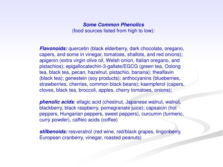 Some Common Phenolics