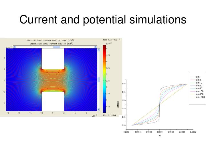 Current and potential simulations