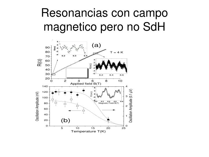 Resonancias con campo magnetico pero no SdH