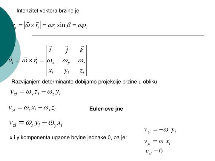 Intenzitet vektora brzine je: