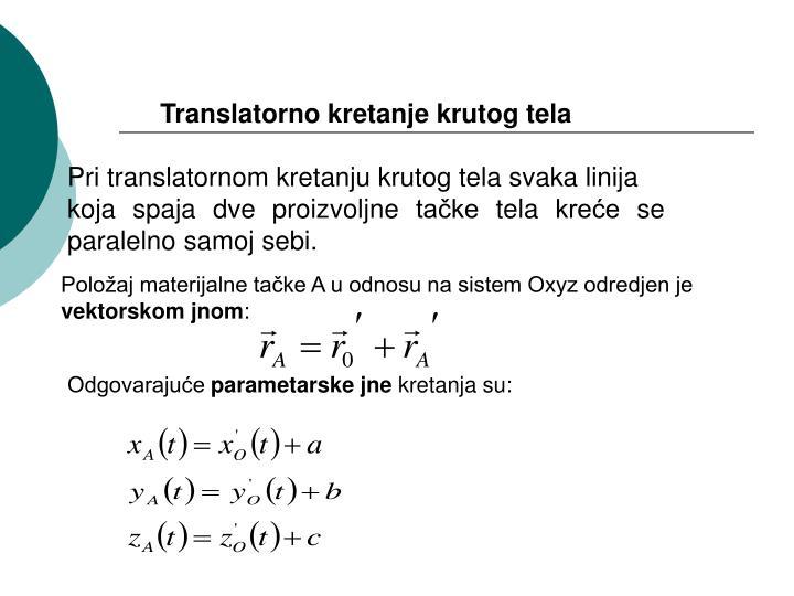 Translatorno kretanje krutog tela