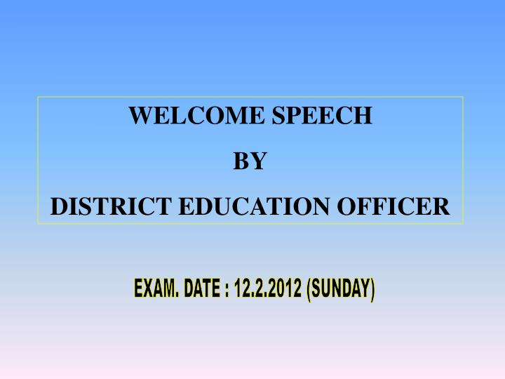 WELCOME SPEECH
