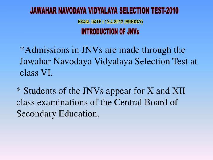 JAWAHAR NAVODAYA VIDYALAYA SELECTION TEST-2010