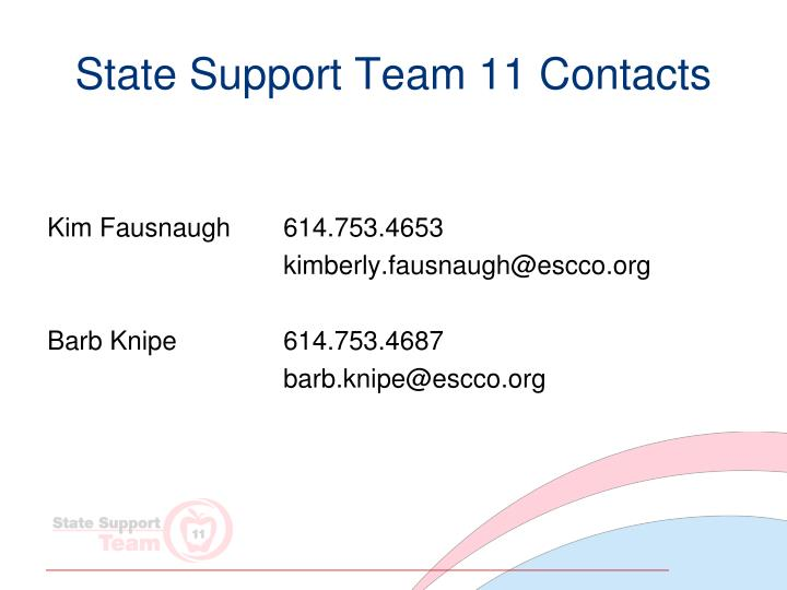 State Support Team 11 Contacts