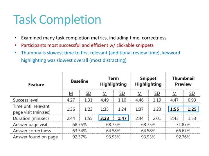 Task Completion