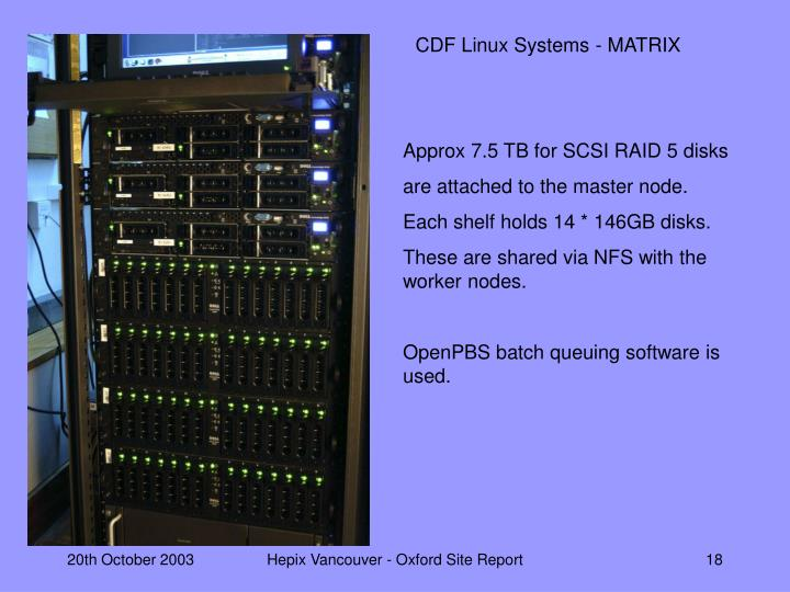 CDF Linux Systems - MATRIX