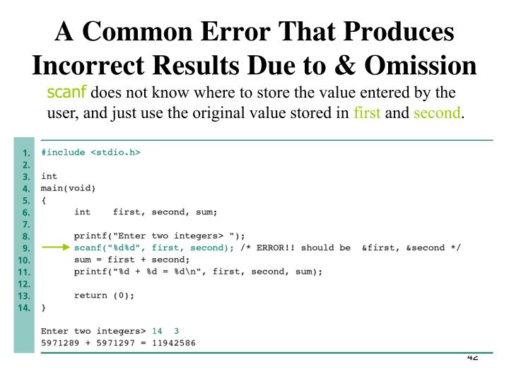 A Common Error That Produces Incorrect Results Due to & Omission