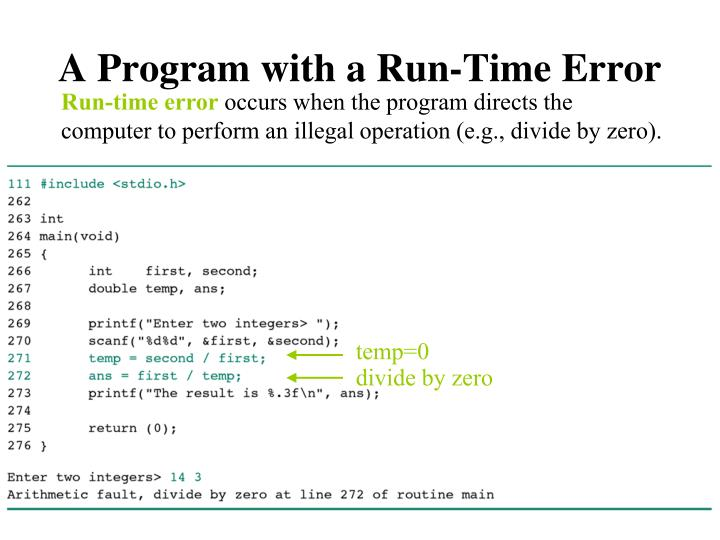 A Program with a Run-Time Error