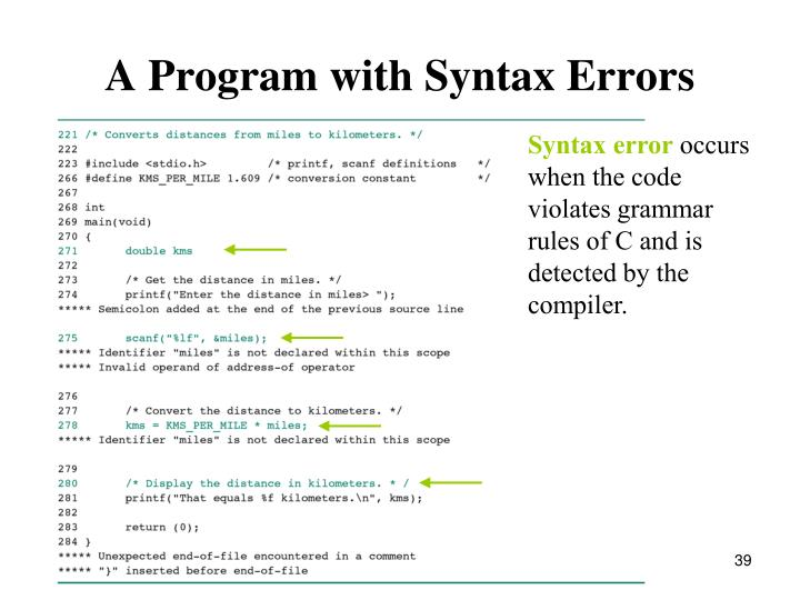 A Program with Syntax Errors