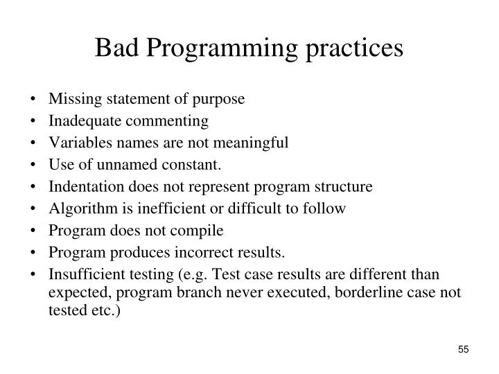 Bad Programming practices