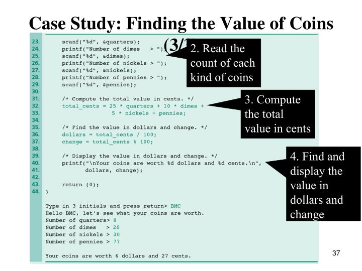 Case Study: Finding the Value of Coins (3/3)