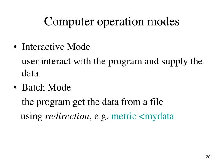 Computer operation modes
