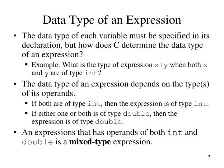 Data Type of an Expression