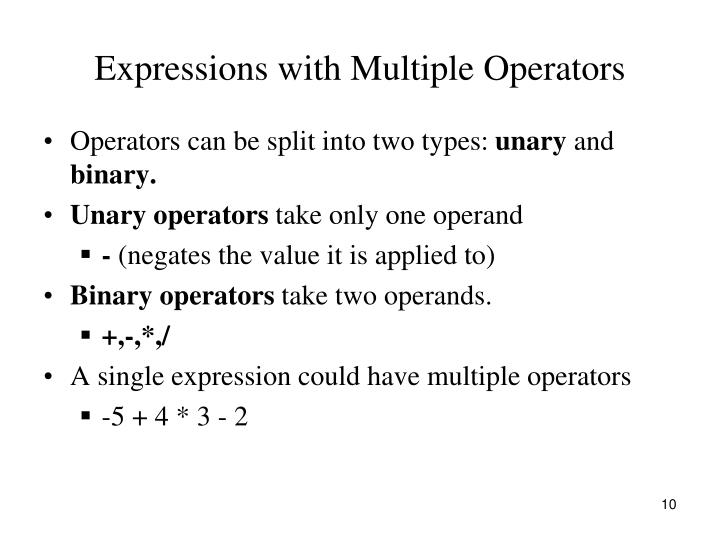 Expressions with Multiple Operators