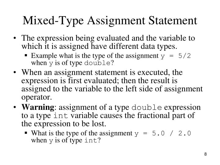 Mixed-Type Assignment Statement