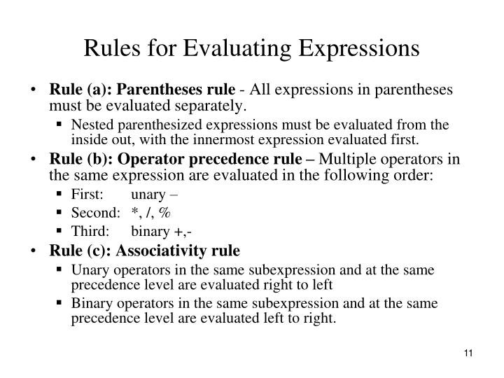 Rules for Evaluating Expressions