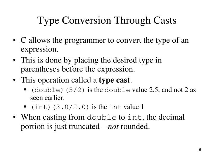 Type Conversion Through Casts