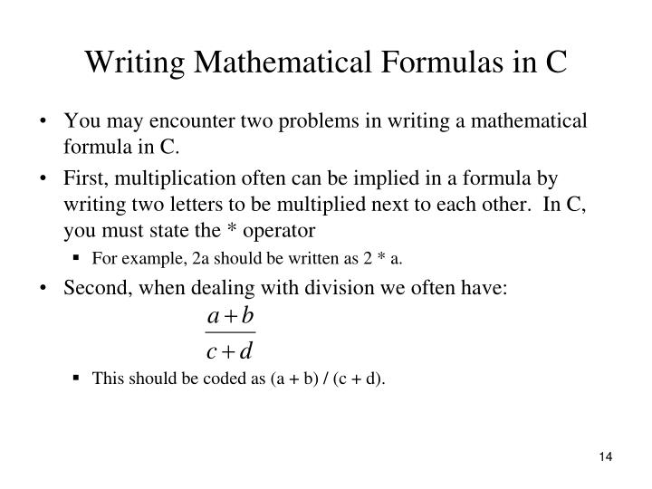 Writing Mathematical Formulas in C