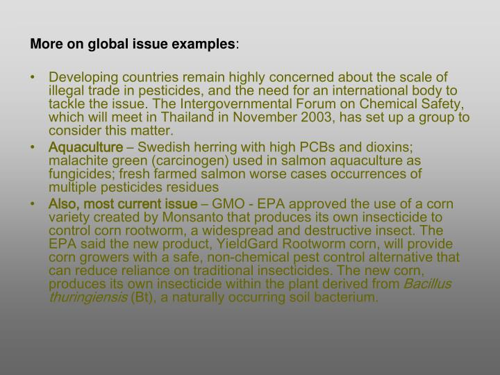 More on global issue examples
