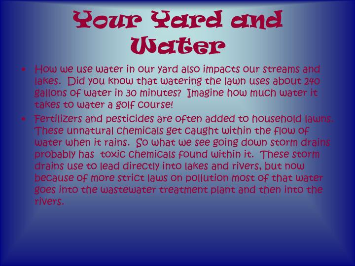 Your Yard and Water