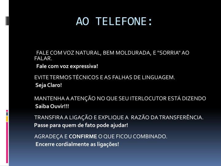 AO TELEFONE: