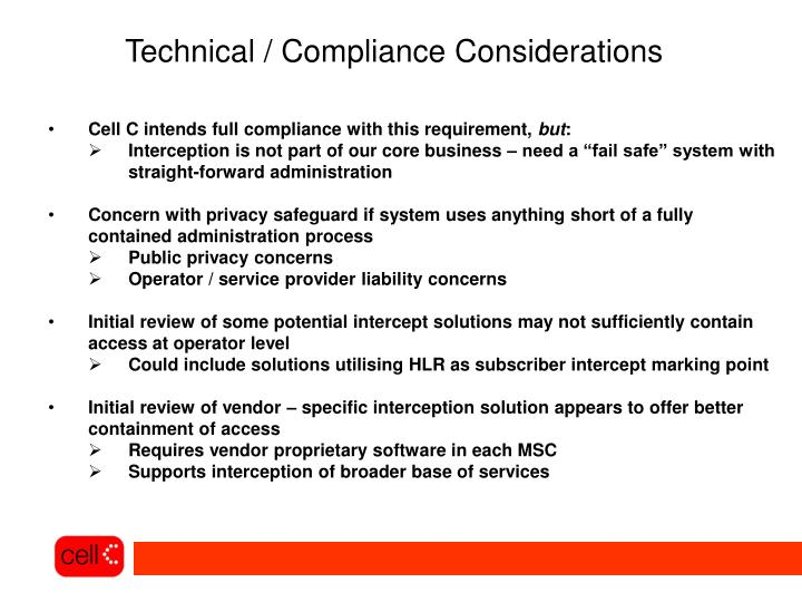 Technical / Compliance Considerations