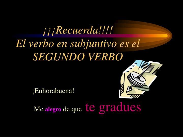 ¡¡¡Recuerda!!!!