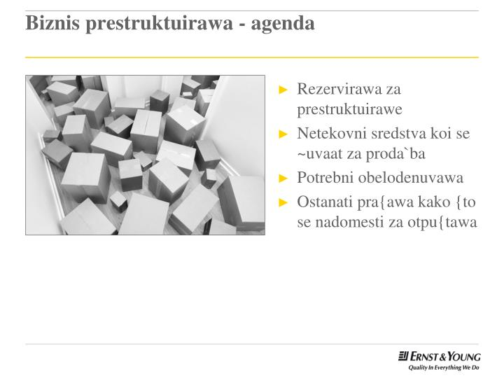 Biznis prestruktuirawa - agenda
