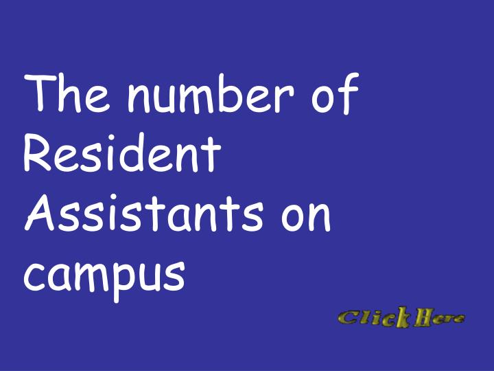 The number of Resident Assistants on campus