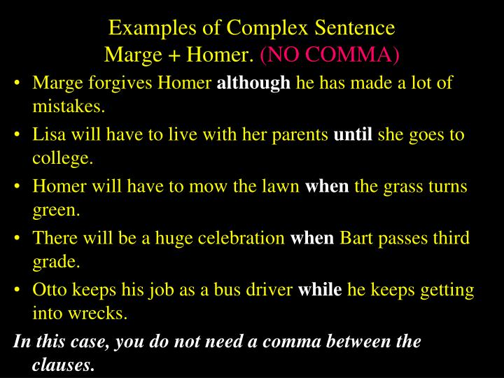 Examples of Complex Sentence
