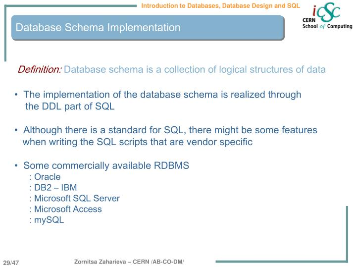 Database Schema Implementation