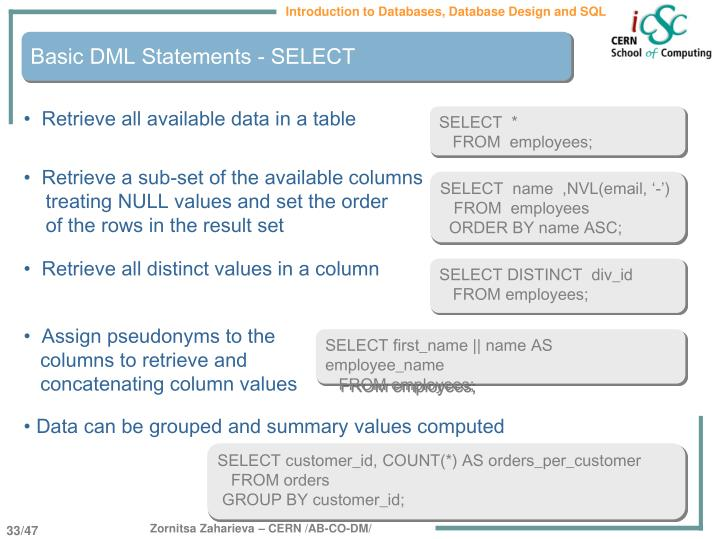 Basic DML Statements - SELECT
