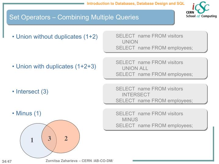 Set Operators – Combining Multiple Queries