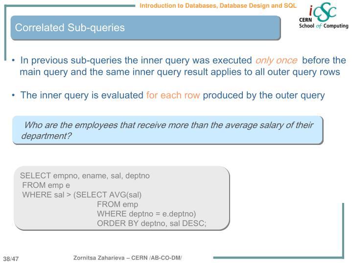 Correlated Sub-queries