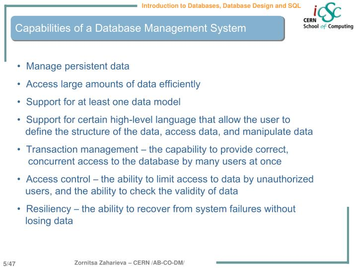 Capabilities of a Database Management System