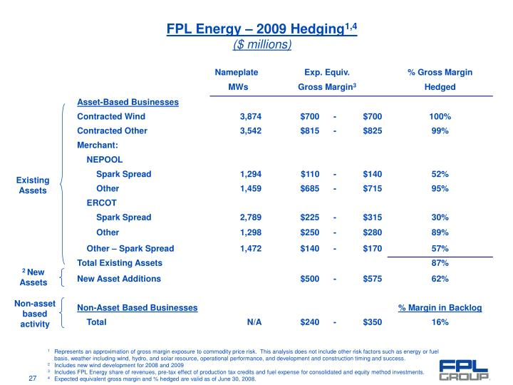 FPL Energy – 2009 Hedging