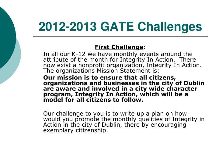 2012-2013 GATE Challenges