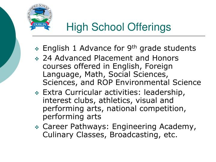 High School Offerings
