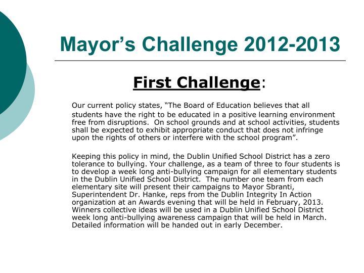 Mayor's Challenge 2012-2013