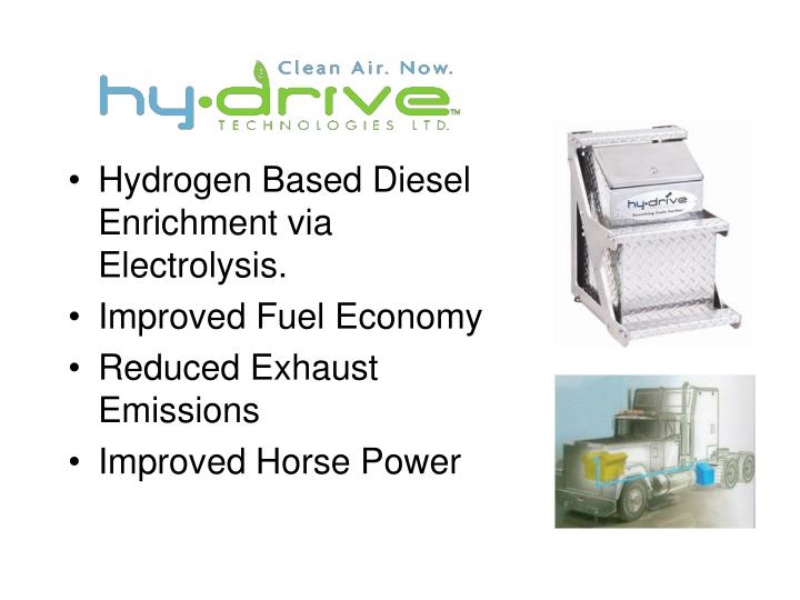 Hydrogen Based Diesel Enrichment via Electrolysis.