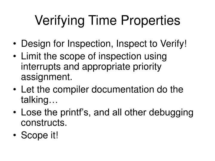 Verifying Time Properties