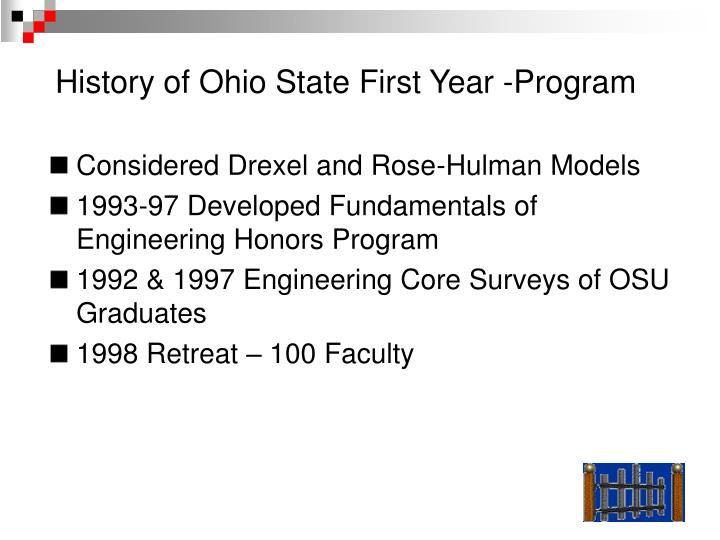 History of Ohio State First Year -Program