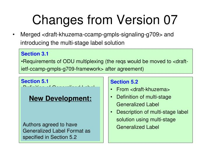 Changes from Version 07