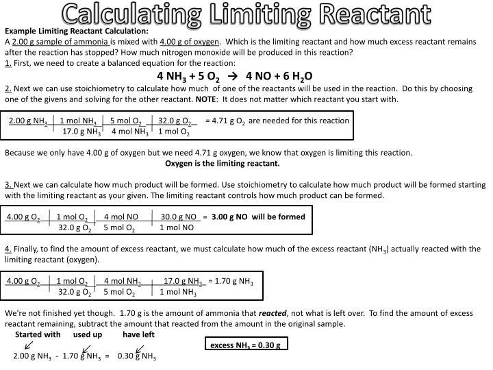 Calculating Limiting Reactant