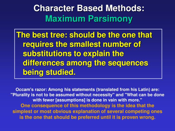 Character Based Methods: