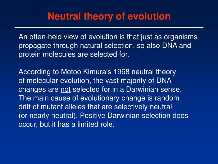 Neutral theory of evolution