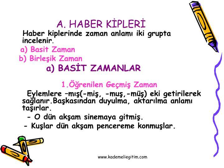 A. HABER KİPLERİ